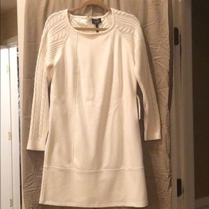 Laundry knit dress with cable knit sleeves